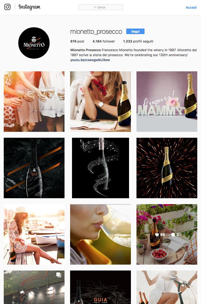 Vino instagram Mionetto
