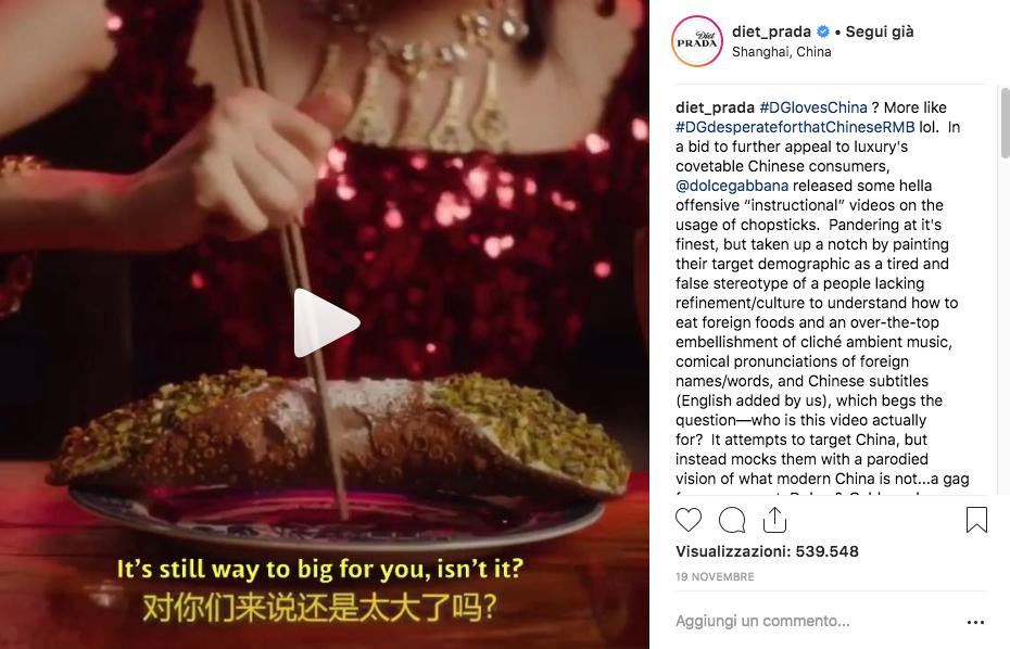 Dolce e Gabbana in Cina video campaign Diet Prada
